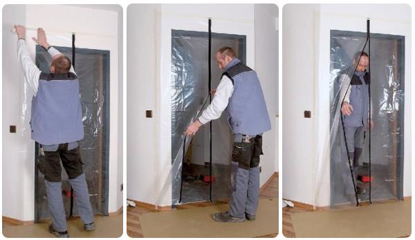 Kurtyna foliowa  drzwi remontowe